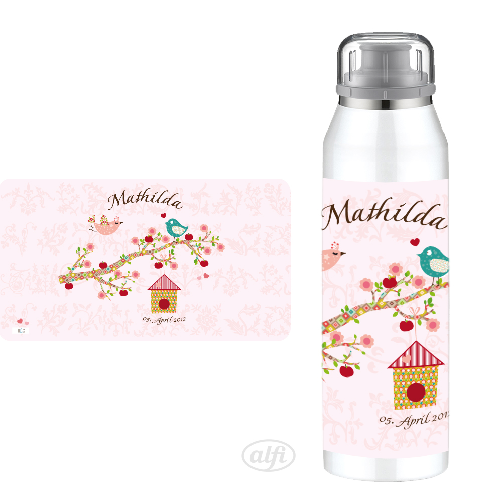 personalisierte Alfi Trinkflasche Floral rose