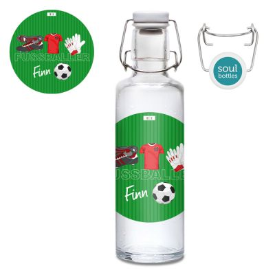 Glasflasche Fussball rot