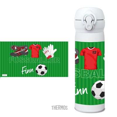 Thermos Isolierflasche Fussball rot