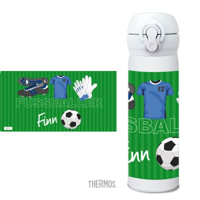 Thermos Isolierflasche Fussball blau