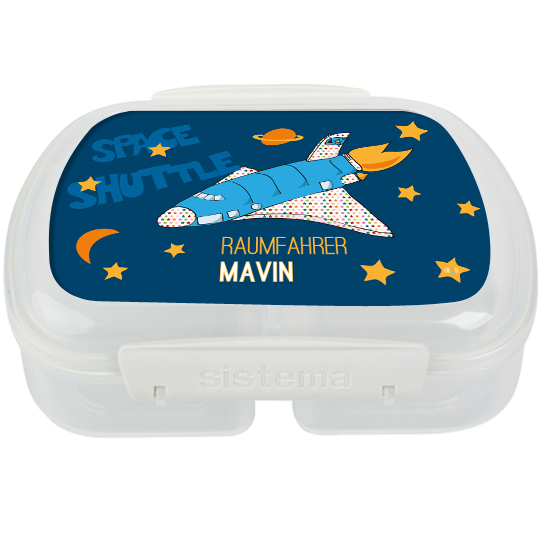 Kinder Brotdose mit Namen Spaceshuttle mit eigenem Namen