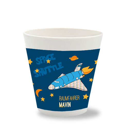 Becher mit Namen Spaceshuttle mit eigenem Namen